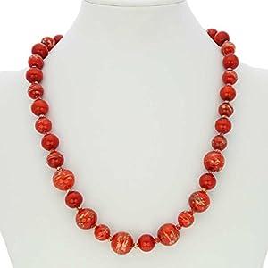 GlassOfVenice Collar de cristal de Murano con luz de estrellas, rojo fuego