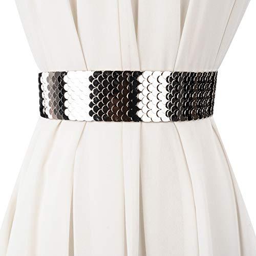 XKMY Cintura para mujer con decoración de moda para mujer, cinturón ancho de metal, escala de pescado, cinturón elástico para mujer, accesorios de regalo para joyas de boda (color de acero)