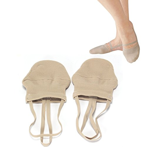 AllPlay Half Toe Shoe Sole Sock Made of Knitted Cotton for Ballet Dancers and Rhythmic Gymnastic Competition (L)