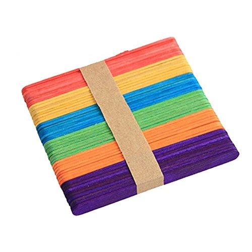 ISKYBOB 100 Piezas Palitos Madera Para Manualidad Artesanía DIY,Multicolor