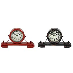 Unknown1 Large Vintage Style Distressed Red and Black Round Metal Table Clocks Set of 2 11 X 6 Each 11 3 6round Iron