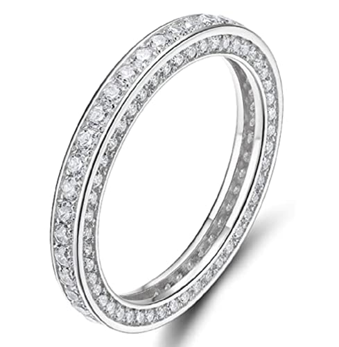 Sdouefos Full Eternity Stackable White Clear CZ 925 Sterling Silver Eternity Ring Cubic Zirconia Anniversary Wedding Engagement Band Ring (7)
