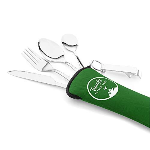 Campingbesteck, Reisebesteck und Wanderbesteck aus Edelstahl mit Tasche aus Neopren, ideal für Reisen, Outdoor, Picknick und Wandern (grün)