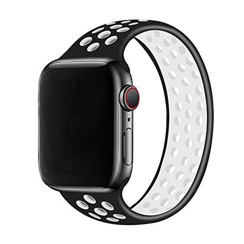 Solo Loop Correa para Apple Watch de 44 mm, 40 mm, 38 mm, 42 mm, correa elástica de silicona transpirable para iWatch Series 3 4 5 SE 6 (negro, blanco, 38 mm o 40 mm/M)
