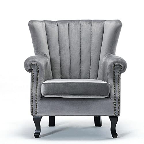 YJYDD Velvet Grey Wing Back Fireside Cocktail Chair Queen Sofa