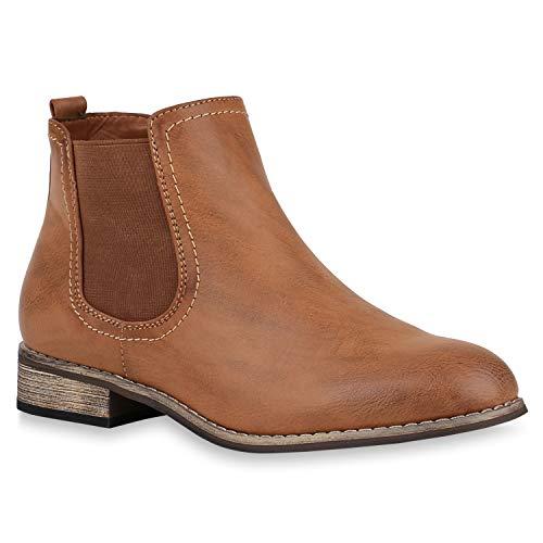 stiefelparadies Gefütterte Damen Chelsea Boots Leder-Optik Stiefeletten 121388 Braun Avelar 39 Flandell
