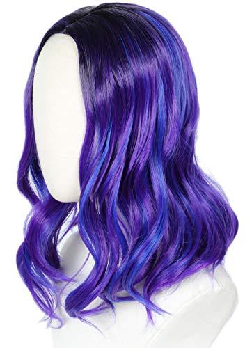 Linfairy Kids Child Purple Dye Wig Halloween Costume Cosplay Wave Wig
