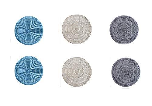 Horbous Untersetzer Japanischen Tischset Untersetzer in Japanischen Bock Glas Geflochtenen Boden Tasse Japanischen Untersetzer Tisch Tischset Dekoration Cup Mat (Pack 3,6) (6 PCS)