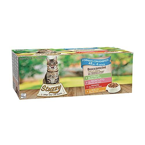 Stuzzy, Comida Húmeda para Gatos Adultos, Varios Sabores, Bocaditos en Salsa - Total 4,08 kg (48 Sobres x 85 gr: 12 Pollo; 12 Buey; 12 jamón; 12 Ternera)