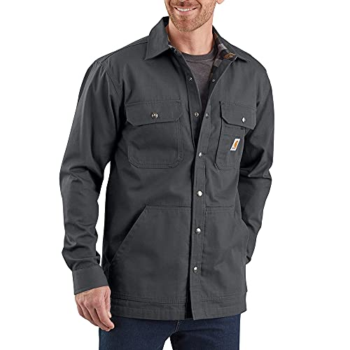 Carhartt Men's Loose Fit Ripstop Flannel-Lined Snap-Front Shirt Jacket, Shadow, Large
