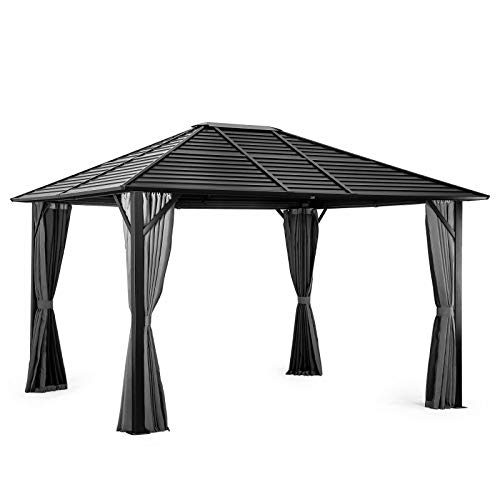 Pamapic 10'x12' Patio Gazebo Canopy Iron Hardtop Gazebos with Mosquito Net and Curtains, Outdoor Gazebos with Aluminum Frame for Garden, Courtyard, Lawn (Black)