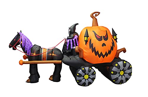 Halloween Inflatable Grim Reaper Driving Pumpkin Carriage
