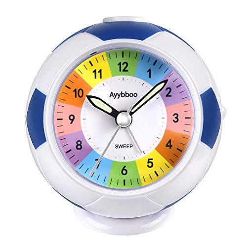 Ayybboo Reloj Despertador Analógico Niños, Despertador Infantil Analogico Despertador para Niños Silencio con Luz Sin Tictac con Snooze Reloj Despertador Niño Dormitorio Estudio (Azul-1)