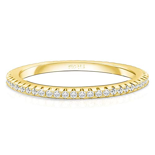 Spoil Cupid 14K Gold Plated 925 Sterling Silver Cubic Zirconia Wedding Band Rings for Women 1pc Size 6