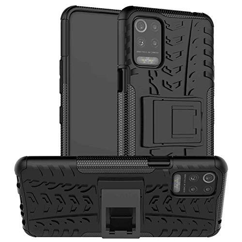 GOGME Handyhülle für LG K52/K62/Q52 Hülle, Rugged TPU/PC Hybrid Armor Schutzhülle. Anti-Scratch PC Rückwand Schale + Stoßfeste TPU Innenschutzabdeckung + Faltbarer Halterungen. Schwarz