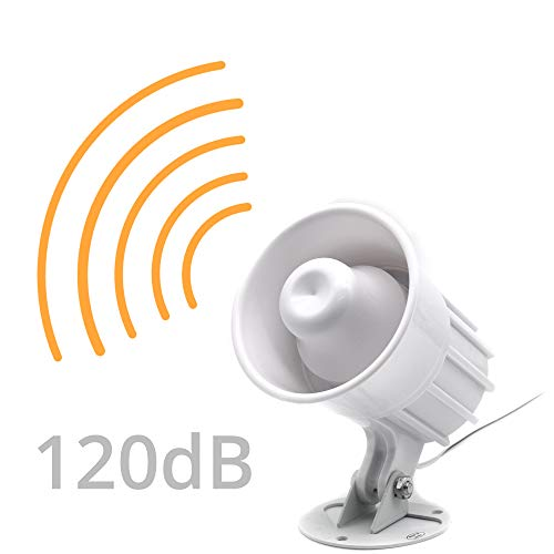 Allarme di Sicurezza di Emergenza Altoparlante 120 dB Allarme Sirena Ecoscandaglio con Staffa, Interni ed Esterni 9/12 V DC