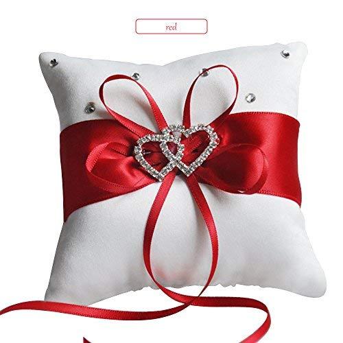 QISHENG Heart-Shaped Bow Wedding Bearer Ring Pillow Small Ring Bearer Pillow(Red) (5.9 × 5.9 in)