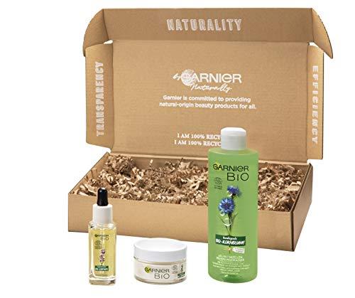 Garnier Bio umweltfreundliche Geschenkbox, Anti Falten Gesichtspflege Set, Naturkosmetik mit Lavendelöl und Arganöl, 957 g