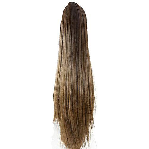 Brussels08 Extension de cheveux longs et raides pour queue de cheval - Perruque texturée naturelle - Pour femme et fille - Taille 5
