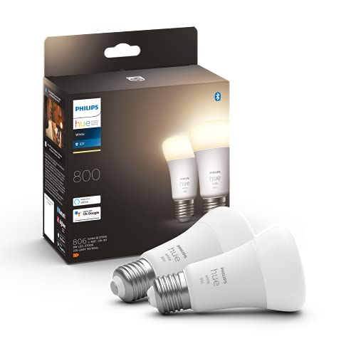 Philips Hue - Bombilla inteligente, E27, Luz cálida regulable, 9W, Compatible con Alexa y Google Home - Pack de 2 Bombillas LED inteligentes