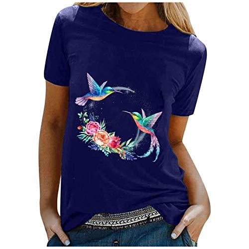 Zshosam T-Shirt Damen Sommer Oberteile Hoffnung Vogel Fliegend Drucken Kurzarm Tee Tops Casual Rundhals Shirt Hemd Bluse Female Teenager Mädchen