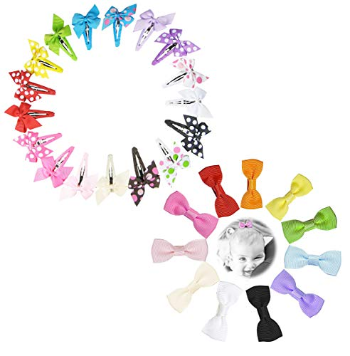 Bundle: 17pc 2in Hair Clips Snap barrettes + 11ct Bow Tie Hair Bow Hair Clips