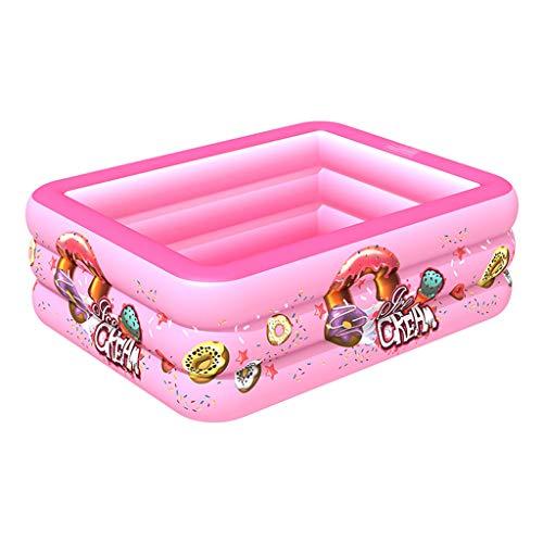 Shenye 130CM Aufblasbarer Pool, quadratisches Babyschwimmbad mit Donutmuster, aufblasbares Kinderschwimmbad, Planschbecken für Gartenhäuser, Ocean Ball Pool (Rosa)