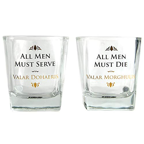 HBO Game of Thrones Whiskey Glazen, set van 2, All Men Must die Valar Morghulis