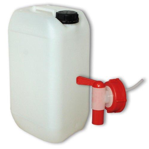 15 Liter Kanister Neu mit Sicherheitsverschluss + 1 AFT Hahn (DIN 61) | Lebensmittelecht | Tragbar Stapelbar und Stabil | Extrem Robust und Langlebig | Indoor und Outdoor | BPA Frei | Made in DE