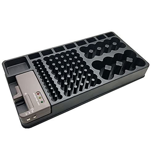 Nephit Soporte organizador de batería con probador de batería, soporte para caja de almacenamiento con caja de almacenamiento incluida, comprobador de pilas AAA AA C