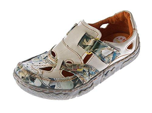 TMA Damen Comfort Leder Sandaletten 7008 Schuhe Weiss Zeitungsdruck Halbschuhe Sandalen Gr. 36