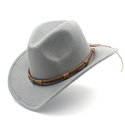 XXY Western-Cowboy-Hut für Herren mit Punk-Blet-Dame fühlte Cowgirl-Sombrero-Caps (Farbe : Grau, Größe : 56-58cm)