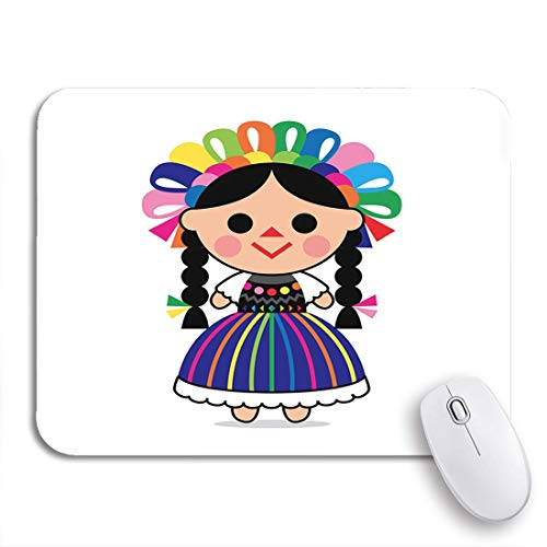 Gaming Mouse Pad Bunte Cartoon Cute von mexikanischen Puppe Charakter Kleid Kind rutschfeste Gummi Backing Computer Mousepad für Notebooks Maus Matten