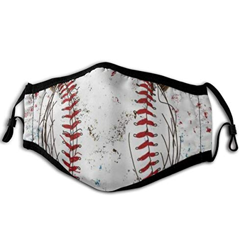 YUDILINSA Gesichtsbedeckung,Flagge MLB Baseball Ball Globe Sports Rot Weiß,Sturmhaube Unisex Wiederverwendbar Winddicht Staubschutz Mund Bandanas Outdoor Camping Motorrad Running