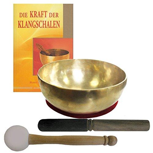 Therapie KLANGSCHALE 600-700g Handarbeit Nepal 5-tlg Klangmassage SET. KLEINE HERZSCHALE + Buch + 2 x Klöppel +...