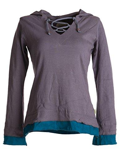 Vishes – Alternative Bekleidung – Lagenlook Longsleeve Shirt mit Zipfelkapuze grau 42