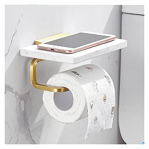 Portarrollos Papel Higiénico Papel de mármol Toalla de toalla Toporte de papel higiénico Colgante de pared Caja de papel Teléfono celular Estante Baño Accesorios Barra de toalla de oro cepillado