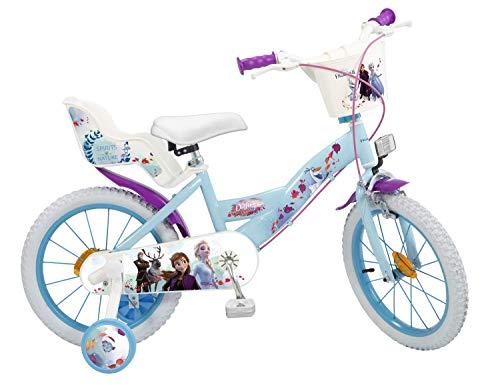 Kinderfahrrad Disney Frozen II - Die Eiskönigin 2 16 Zoll | Felgenbremse Trommelbremse Korb Puppensitz Vormontiert 5-7 Jahre