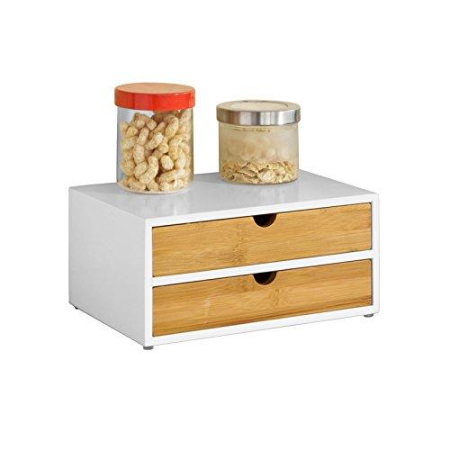 SoBuy® FRG180-WN Kaffeekapsel Box aus MDF und Bambus Kapselspender Kapselständer mit 2 Schubladen Aufbewahrungsbox Schubladenbox Schreibtischorganizer