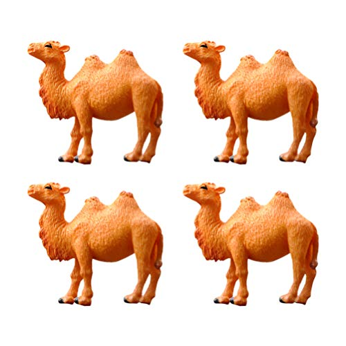 Toyvian Camel Figure Mini Realistic DIY Miniature Animal Model Decor Dollhouses Fairy Garden Desktop Tv Cabinet Decoration Accessories Toy 4pcs