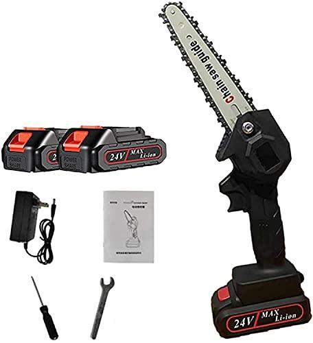 wsbdking Mini Kit de Motosierra inalámbrica, Motosierra portátil Recargable eléctrica de 6 Pulgadas 1500mAh 24V, Ideal para Corte de árbol de árbol de árbol de Corte (Color : Black)