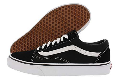 Vans Unisex-Erwachsene Old Skool Classic Suede/Canvas Sneakers aus Segeltuch, Schwarz Schwarz Weiß, 44 EU