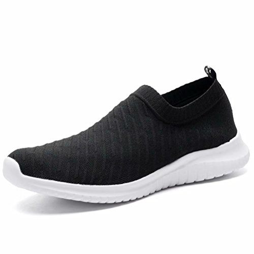 LANCROP Herren Bequeme Wanderschuhe – Casual Knit Loafer Slip on Sneakers, Schwarz (A/Schwarz), 41 EU