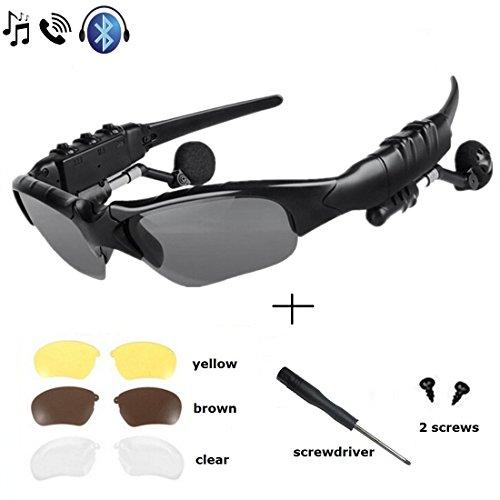 WinneG Wireless Musica Occhiali da sole con stereo vivavoce Bluetooth 4.1 Cuffia per tutti i telefoni intelligenti o compresse di PC con funzione Bluetooth + Free sostituibile 3 lente coppia (giallo, marrone, Cancellare)