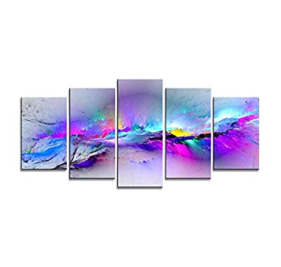Wieco Art - Changing Colors Canvas Prints 5 Panels Modern Artwork Landscape Pictures to Photo Printed on Abstract Canvas Wall Art for Home Decorations and Wall Decor 5pcs/Set