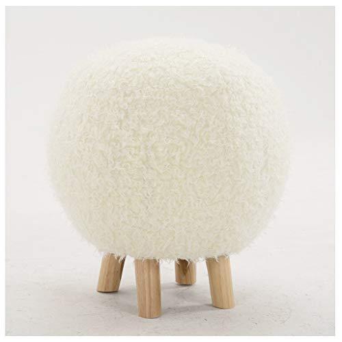 LLRDIAN Kreative massivholz hocker ballhocker waschbar hocker möbel niedrigen hocker hocker Hause Stoff hocker (Farbe : Weiß)