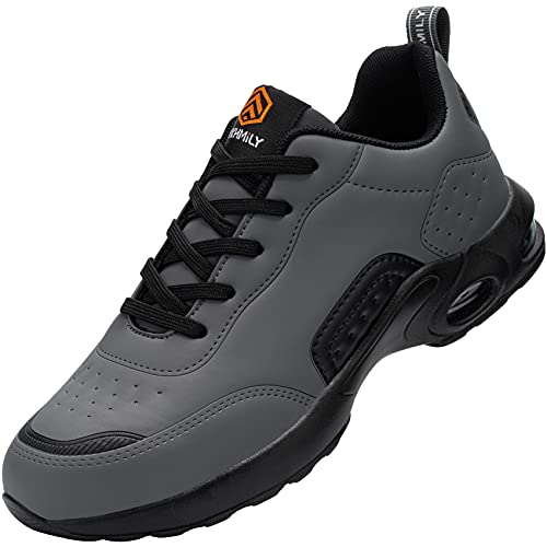 Fenlern Chaussure de Securite Homme Legere, Coussin d'air Baskets de Sécurité Embout Acier Chaussures de Travail (Noir Gris Cuir,42 EU)