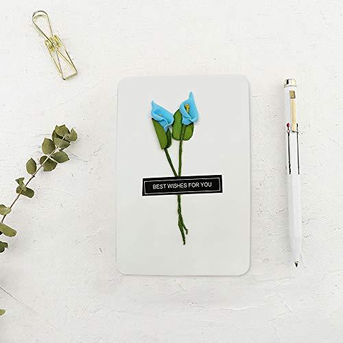 Dylan-EU 4 Grußkarte mit 4 Geschenk Umschlag Dankskarten Retro Einladungskarte mit Plastikblume Danken Ihnen Karten für Valentinstag Danksagung Geburtstag Muttertag - 5
