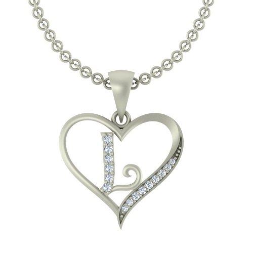 Kanak Jewels Letter L in Heart Shaped