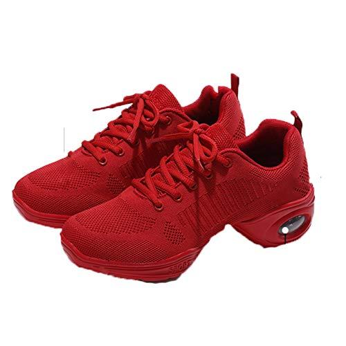 Zapatillas de Deporte para Mujer, cojín de Aire, Zapatillas de Deporte de Malla roja con Cordones, Elegantes, Gimnasio, para Correr, Caminar Todos los días, Zapatos Deportivos